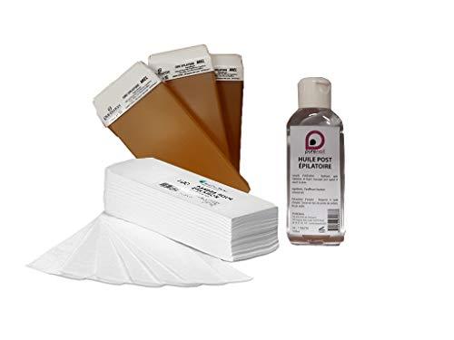 Kit EPILATION CONSOMMABLES avec 3 cartouches de cire à épiler 7 couleurs + 100 bandes d'épilation +1 Huile Post Épilatoire 100 ml BY PURENAIL (JAUNE MIEL)