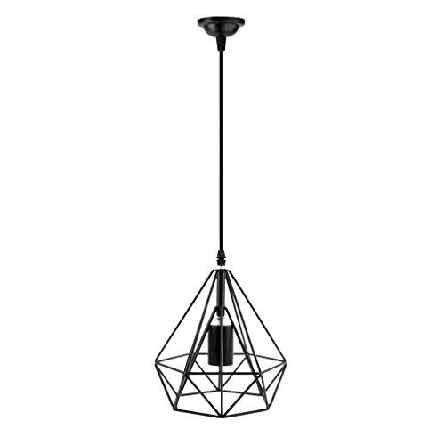 Lluminación Colgante Pantalla Cable Bombilla Lámpara de Pared Forma de Diamante Cinturón Decoración Negro