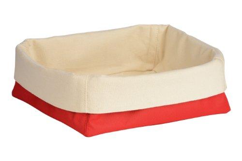 Premier Housewares 1901103 Panier à Pain en Polyester/Coton Crème/Rouge
