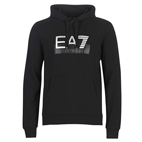 Mens Emporio Armani EA7 Visibility Logo Hooded Sweatshirt in Black.