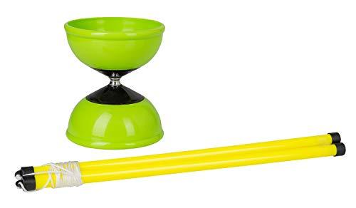 Idena 40002 - Diabolo Spiel mit Handstäben und einem grünen Diabolo, für Kinder und Erwachsene, ideal für Garten, Park oder Strand