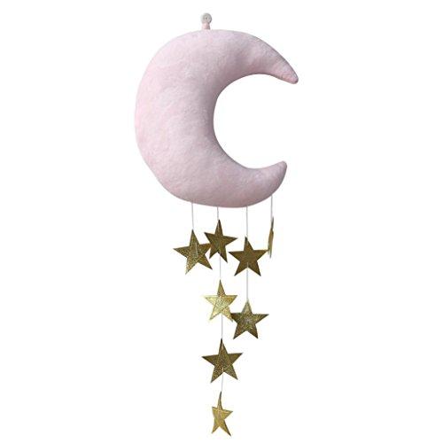 Hearsbeauty - Lune et étoiles en peluche - Décoration murale à suspendre - Pour chambre d'enfant