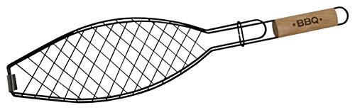 Fackelmann Grill, wendbar, Fisch, Grill, Holzgriff, 60 cm, 1 Stück, Stahl