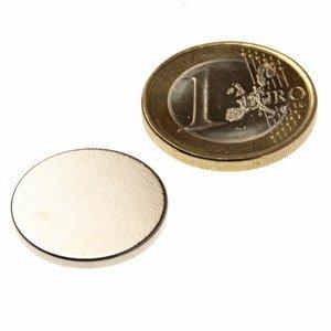 Scheibenmagnet Ø 20,0 x 2,0 mm N45 Nickel - hält 2,5 kg, Neodym Supermagnet Powermagnet Haftmagnet, Magnetscheibe, Zylindermagnet