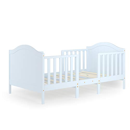 Costzon 2 in 1 Convertible Toddler Bed, Classic Wood Kids Bed w/2 Side Guardrails, Headboard, Footboard for Extra Safety, Children Bed Frame Convert to Two Chairs/Sofa/Cribs, Gift for Boy Girl (White)