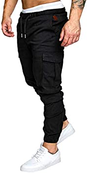 Znu Men's Slim-Fit Jogger Cargo Sweatpants with Pockets