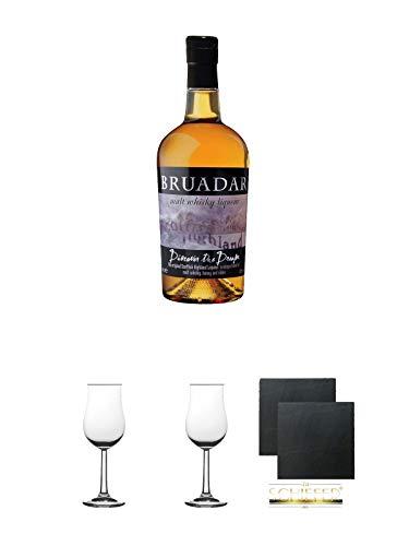 Bruadar Whisky Malt Whisky Liköre 0,7 Liter + Nosing Gläser Kelchglas Bugatti mit Eichstrich 2cl und 4cl 2 Stück + Schiefer Glasuntersetzer eckig ca. 9,5 cm Ø 2 Stück