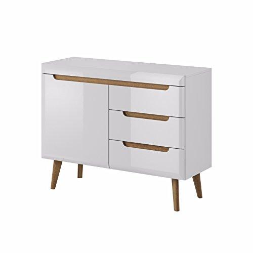 Selsey Poland Living II Sideboard/Kommode Im Scandi-Design, MDF board, Weiß, 107 x 20 x 83 cm