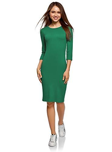 oodji Ultra Mujer Vestido Acanalado con Mangas 3/4, Verde, ES 44 / XL