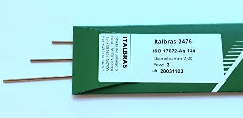 Italbras 3476, lega argento per brasatura con 34% di Ag, barrette 2x500 mm, composizione lega 34AgCuZnSn, confezione da 3 barrette