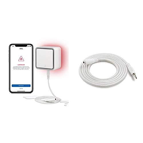 Eve Water Guard - Smarter Wassermelder, 2m Sensorkabel (verlängerbar), 100dB, Wasseralarm auf iPhone, iPad, Watch (Apple HomeKit) + Eve Water Guard - Sensorkabel-Verlängerung (2 m)