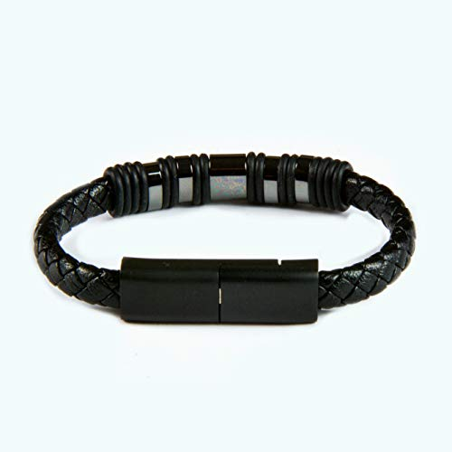 Xcharge.me USB Charging Bracelet for iPhone Fashion Braided Leather Wrist Band Data Sync Cord 24K Gold Plated Connection (Black, 7.87in)