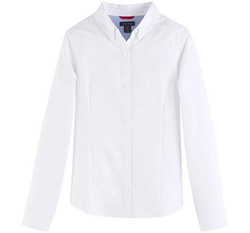 Tommy Hilfiger Big Long Sleeve Oxford Girls Buttondown Collar Blouse, Kids School Uniform Clothes, White, 14