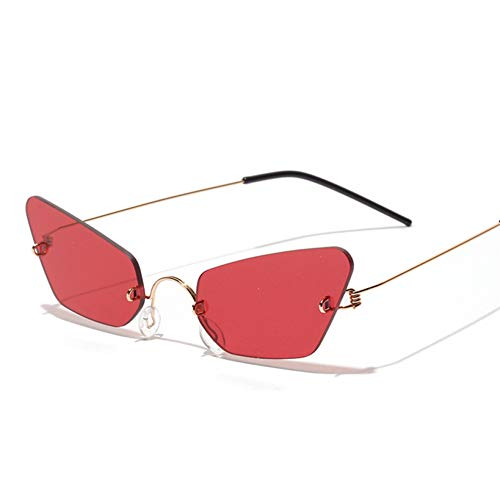 Taiyangcheng Randlose Sonnenbrillen für Frauen Metallrahmen Sonnenbrillen Damenbrillen,rot