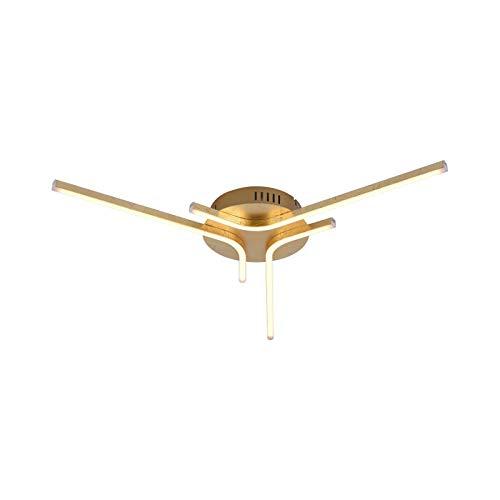 LED Deckenlampe Wohnzimmer Modern Deckenleuchte Schlafzimmer Gold Farben (Wohnzimmerlampe, Deckenstrahler, 58 cm, 3 x 6 Watt, Warmweiß)