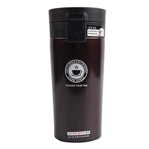 BJ-SHOP Vacuüm-geïsoleerde reisbeker, roestvrij staal, thermoskan, drinkflessen en thermobeker, reisbeker, roestvrijstalen beker met deksel, A-wit