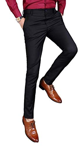 [タラゴナ] メンズ スラックス (76cm, 黒) スリム パンツ スーツ フォーマル 黒 ブラック 大きい サイズ おおきい ロング 3l ストレッチ ll s 丈 おしゃれ ウエスト 大きめ ポリエステル オフィス オフ オール シーズン センタープ