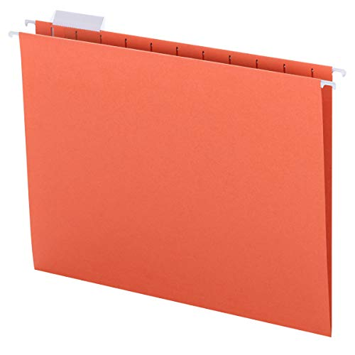 Smead Colored Hanging File Folder with Tab, 1/5-Cut Adjustable Tab, Letter Size, Orange, 25 per Box (64065)