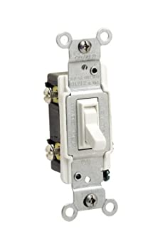 Leviton 2653-2W 15 Amp 120 Volt Toggle Co/Alr 3-Way AC Quiet Switch Residential Grade Grounding White