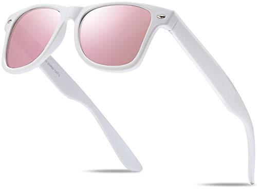 Hatstar Unisex Nerd Herren Sonnenbrille Verspiegelt | Retro Damen Sunglasses | UV400 CAT 3 CE | mit Federscharnier | incl. Gratis Brillen Putztuch (Weiss (Gläser: Rosa-Pink Verspiegelt))