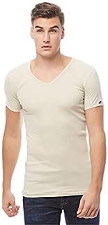 COTTONIL Men's Half Sleeve V Neck Undershirt Derby, Beige