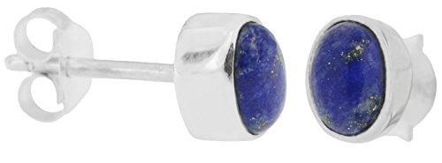 ERCE Lapislazuli Ohrstecker oval, 925 Silber
