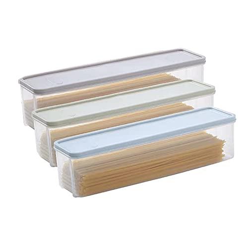 Juego de 3 tarros de almacenamiento de espaguetis de 1,5 l con tapas, botes de comida para el hogar y la cocina, dispensador de espaguetis transparente, para pasta, fideos, nueces, frijoles, harina