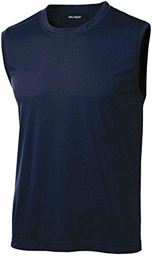 DRIEQUIP Mens Sleeveless Moisture Wicking Muscle T-Shirt-Navy-2XL