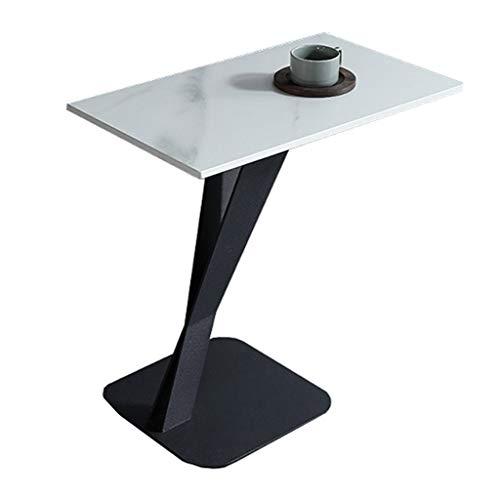 LYP Moderner Beistelltisch mit Beistelltisch aus Marmor, gesinterter Steinplatte und schwarzer Basis für das Wohnzimmer im Schlafzimmer