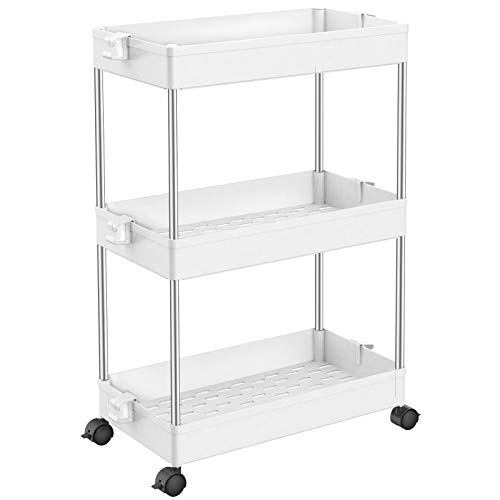 KirinRen 3- Tie Slim Storage Cart with Wheels, Rolling Organizer Cart with Shelves, Slide Out Storage cart Laundry, Mobile Shelving Unit Organizer for Kitchen, Bathroom, Bedroom, Office (White)