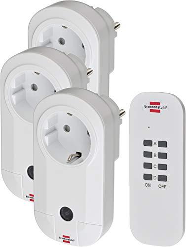 Brennenstuhl Funkschalt-Set RC CE1 3001, 3er Funksteckdosen Set (mit Handsender und erhöhtem Berührungsschutz) weiß
