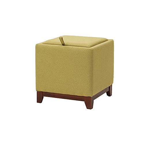 YILIAN Coffee Table Solid Wood Footstool Home Living Room Storage Stool Creative Multifunctional Fabric Change Shoes Stool Storage Stool (Color : A)