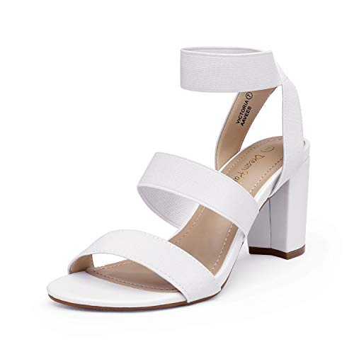 DREAM PAIRS Women's White Open Toe High Chunky Elastic Strap Dress Heel Sandals Size 10 US Victoria