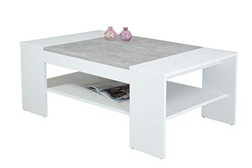 Couchtisch Oliver,  Holzwerkstoff Dekor Weiß-Beton, 111x67x44 cm