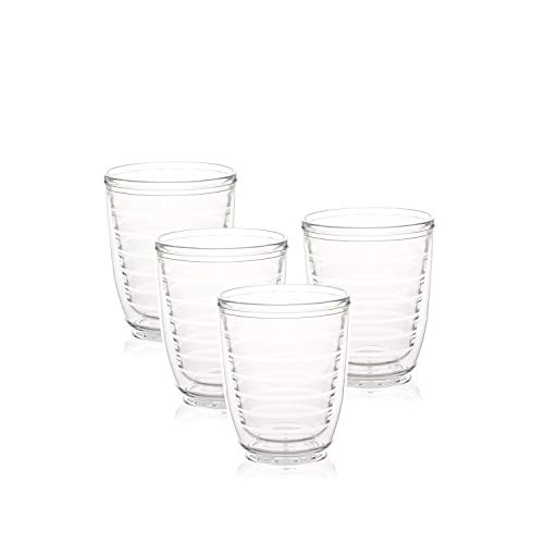 Srenta 12-Ounce Insulated Tumblers | Doubled Walled Insulated Cups Made From Tritan Plastic | Contains No BPA or BPS | Clear Tumbler Works in Dishwasher, Microwave & Freezer | 4 Pack