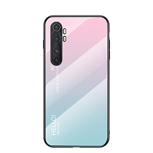 BaiFu Funda para Xiaomi Mi Note 10 Lite Cubierta de Cristal Degradado de Color Caja de Vidrio Templado Case Cover para Xiaomi Mi Note 10 Lite (Rosa Azul)