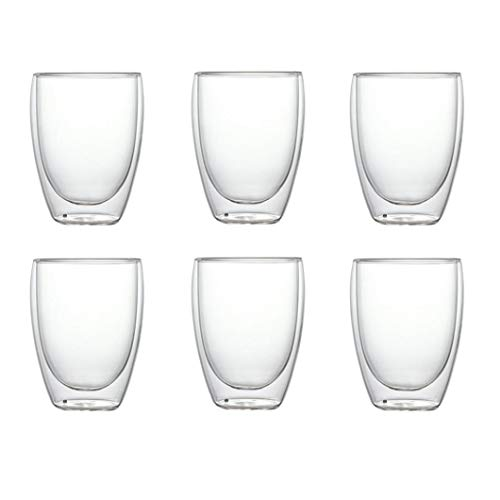 shentaotao Copa 6PCS a Prueba de Calor de Doble Pared Copa de Cerveza de Cristal del café Express de la Taza del té Hecho a Mano Vaso de Whisky de Cristal Copas Vasos