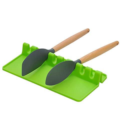 Songway Soporte de Utensilios de Cocina de Silicona, Resto de Cuchara, Cuchara Gigante espátula Tenedor Tenedor Tenedor Resistente al Calor (Green, L)