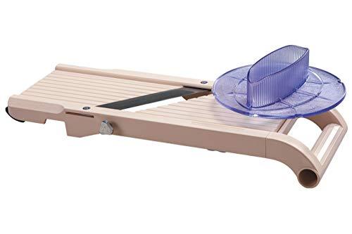Benriner - - Mandoline Japonaise Premium + Poussoir de sécurité - ABS + INOX - Tranche Fruits et Légumes et Réalise Frites et Juliennes - 3 Lames Interchangeables - Épaisseur Réglable de 0,5 à 8 mm