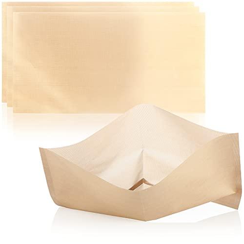 COM-FOUR® 4x bolsas para tostadas bolsas para tostadas antiadherentes extra grandes, reutilizables, para tostadas de queso en la tostadora - aptas para lavavajillas (4 piezas - beige 32x16.5cm)
