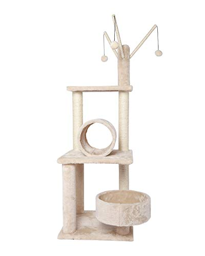 Poils bebe Cat Tree Activity Tower, 50-inch Multilevel Play Climbing and Scratching Tower with Platform Playground for Large Cats and Kittens