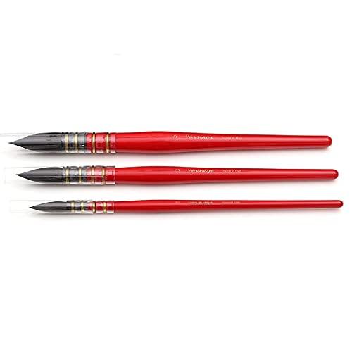 3 Pinceles Redondos de Pelo de Ardilla Juego de Pinceles de Acuarela Pincel de Pintura Hecho a Mano para Pintura artística Gouache Lavado/fregona acrílico
