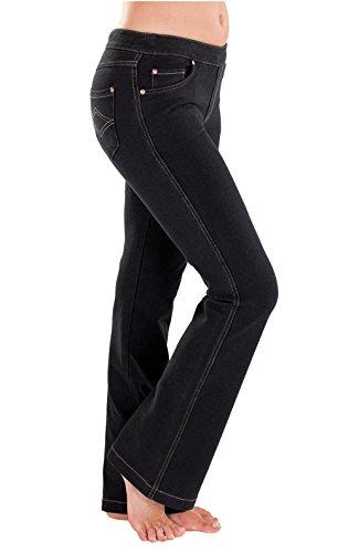 PajamaJeans Petite Jeans for Women - Stretch Denim, Bootcut, Black, L