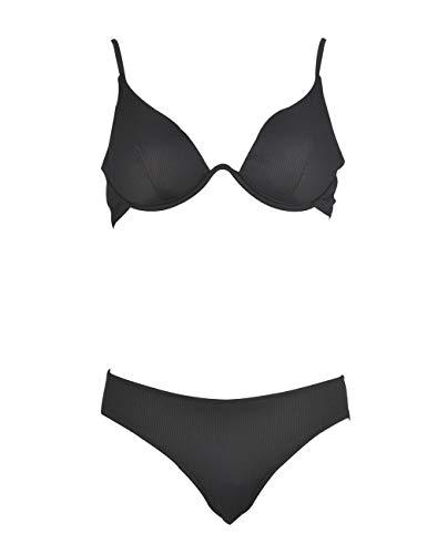 Marine - Bikini con Sujetador Halter de aro Continuo y Braga clásica, Textura Acanalada. (Negro, 44)