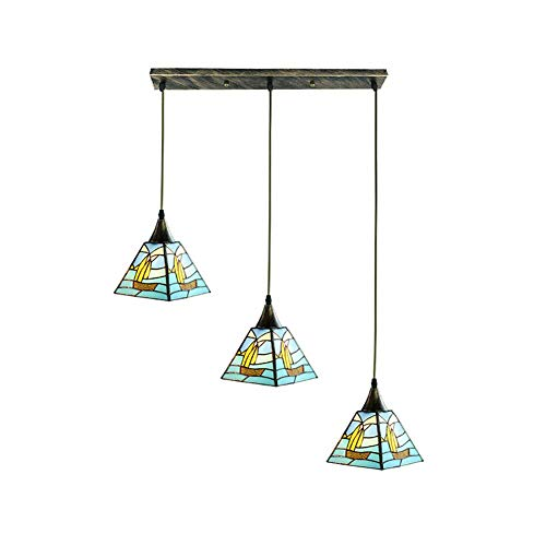 KFDQ Candelabros para el hogar, candelabro victoriano Tiffany de 3 luces Mini arte clásico retro Lámpara colgante Vitral E27 Iluminación colgante Sala de estar Comedor Bar Pasillo Ronda de 3 luces Se