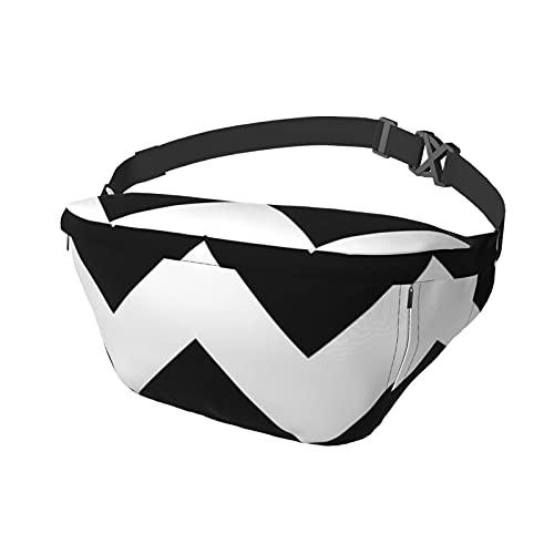 Sport-Brusttasche Sling Bag Crossbody Schulterrucksack Schwarz und Weiß Chevron Zickzack Mode Trend Taille Tagesrucksack für Reisen Gym Sport Wandern Radfahren für Männer Frauen