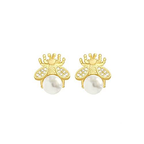 KINGVON KINGVON Pendientes de perlas de abeja pequeña con aguja de plata 925 Pendientes de circonita simples y bonitos Pendientes bohemios Regalo de joyería para mujeres Navidad, Oro