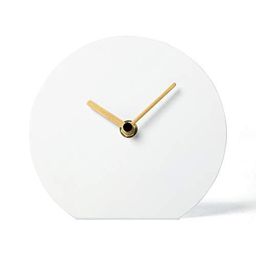 NIKKY HOME Reloj de Mesa de Hierro silencioso Sin Escalas Sin tictac para Sala de Estar Dormitorio Decoraciones para el hogar 15.5 x 5.4 x 14 CM Blanco