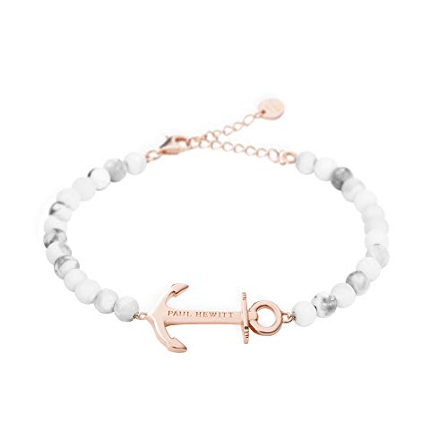 Paul Hewitt Anchor Spirit Brazalete de Perlas (Color mármol) - Pulsera de Mujer de Acero Inoxidable con Ancla en Oro Rosa, Pulsera para señoras