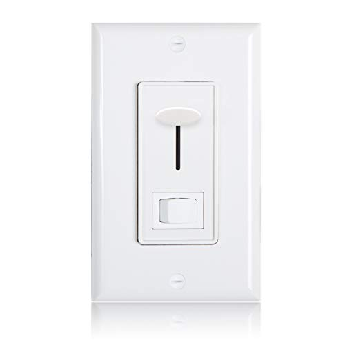 Maxxima 3-Way/Single Pole Dimmer Electrical light Switch 600 Watt max, LED Compatible, Wall Plate Included